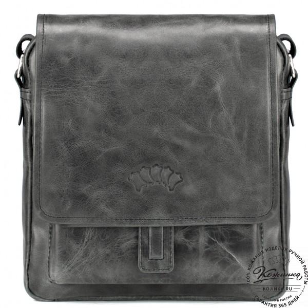 """Кожаная сумка через плечо """"Алекс"""" (чёрный антик) . фото 1"""