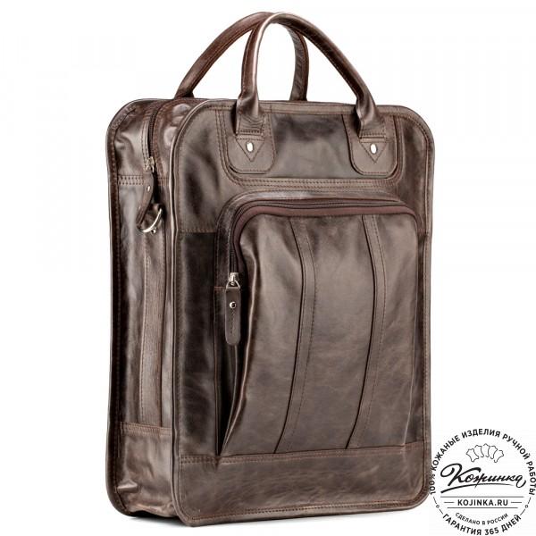 """Кожаный рюкзак-сумка """"Майкл"""" (тёмно-коричневый антик). фото 1"""