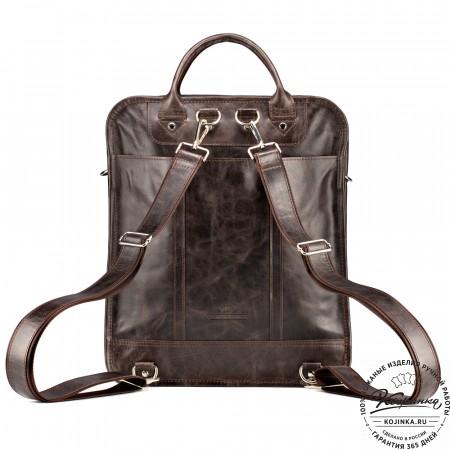 """Кожаный рюкзак-сумка """"Майкл"""" (тёмно-коричневый антик)"""