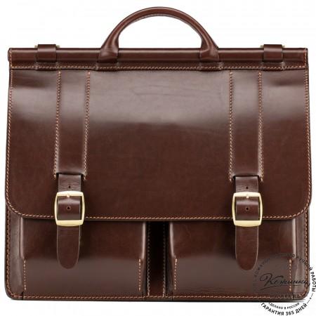 """Кожаный портфель """"Префект"""" (коричневый)"""