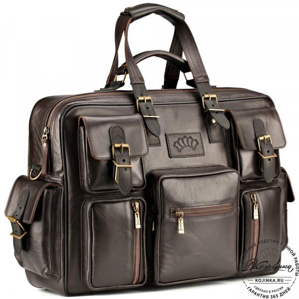 """Кожаная деловая сумка для командировок  """"Ричард"""" (коричневый). фото 1"""