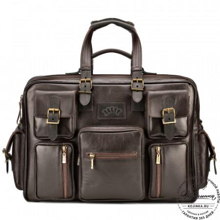 """Кожаная деловая сумка для командировок  """"Ричард"""" (коричневый)"""