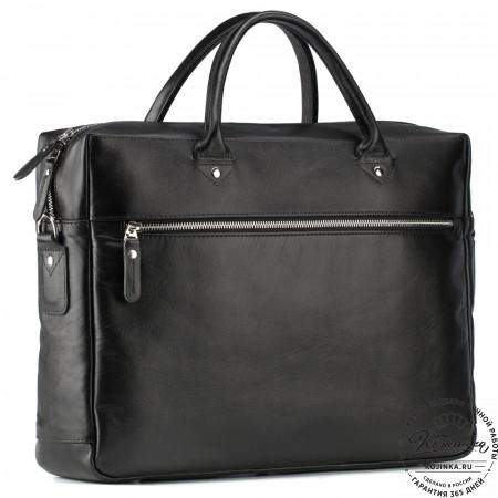 """Кожаная деловая сумка """"Спайк"""" (чёрная)"""