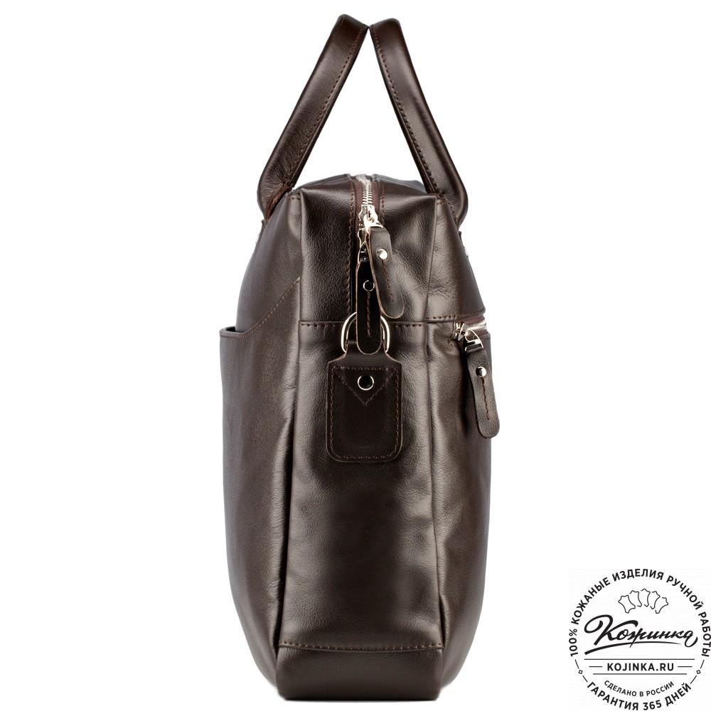 """Кожаная деловая сумка """"Спайк"""" (коричневая)"""