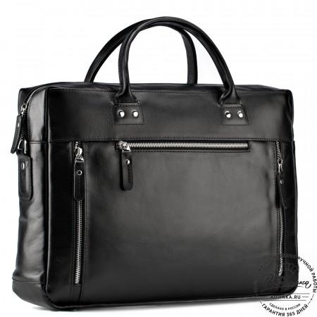 """Кожаная деловая сумка """"Спенсер"""" (чёрная)"""