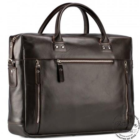 """Кожаная деловая сумка """"Спенсер"""" (коричневая)"""