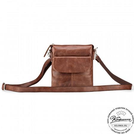 """Кожаная сумка """"Вуди"""" (светло-коричневая)"""