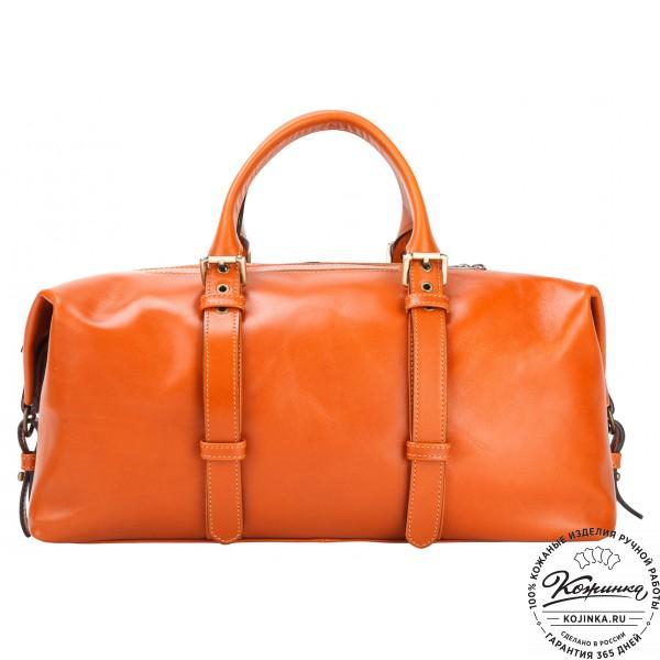 Кожаная дорожно-спортивная сумка Вашингтон (оранжевая). фото 1