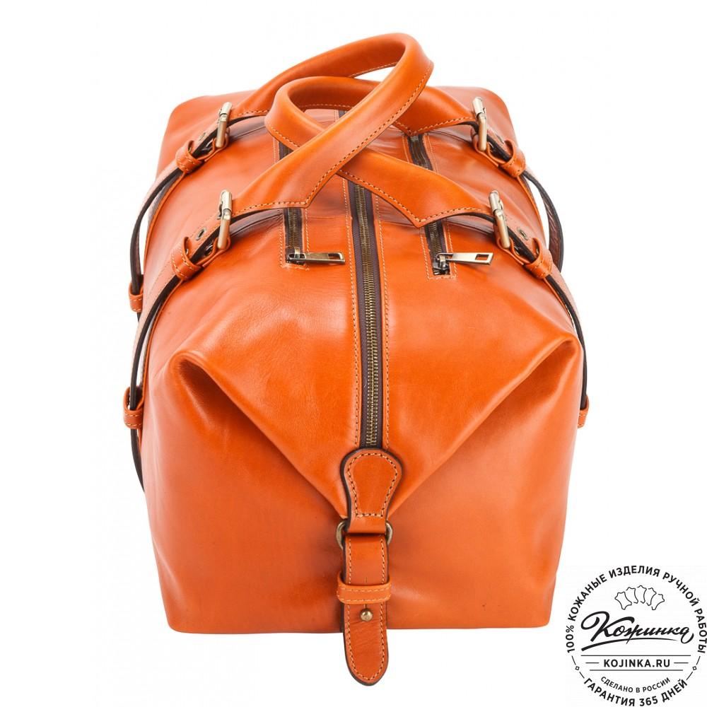 Кожаная дорожно-спортивная сумка Вашингтон (оранжевая)