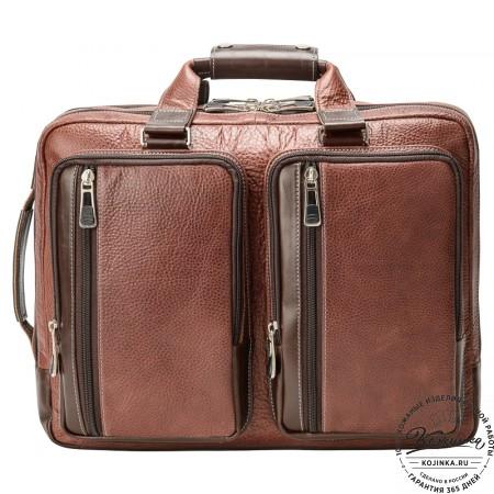 """Кожаная мужская сумка-рюкзак """"Форд"""" (коричневая)"""