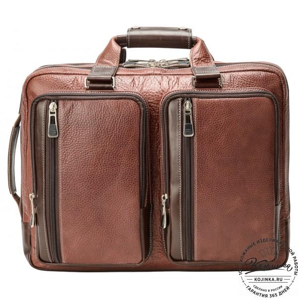"Мужская сумка-рюкзак ""Форд"" (коричневая). фото 1"