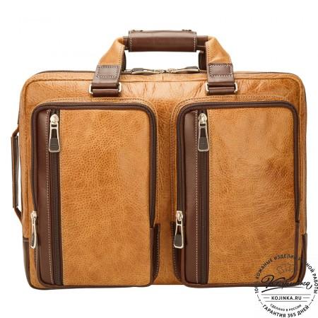 """Кожаная мужская сумка-рюкзак """"Форд"""" (рыжая с коричневым)"""
