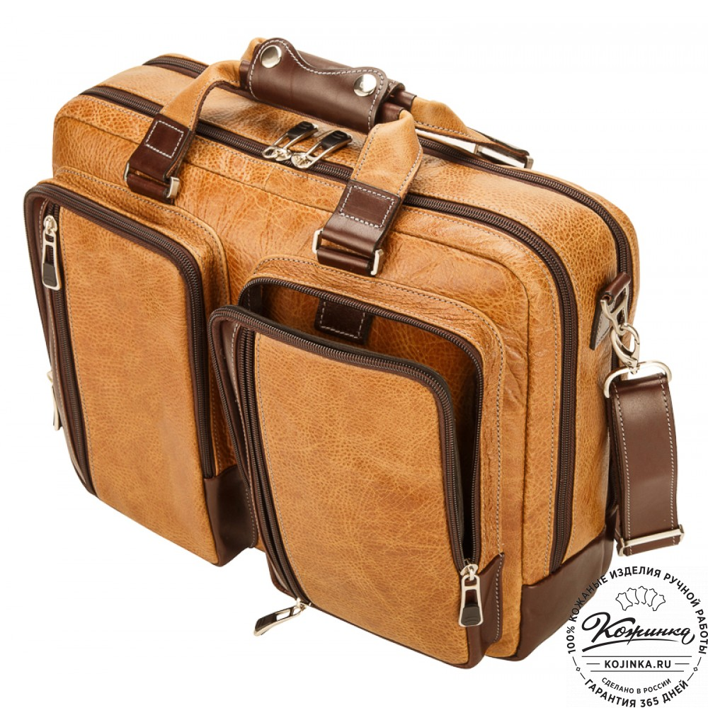 """Мужская сумка-рюкзак """"Форд"""" (рыжая с коричневым)"""