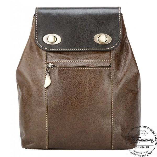 """Женский кожаный рюкзак """"Палермо"""" (оливковый). фото 1"""