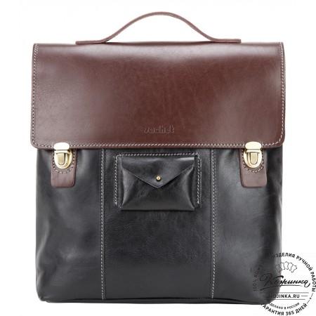 """Кожаный рюкзак """"Школьник New"""" (черный)"""