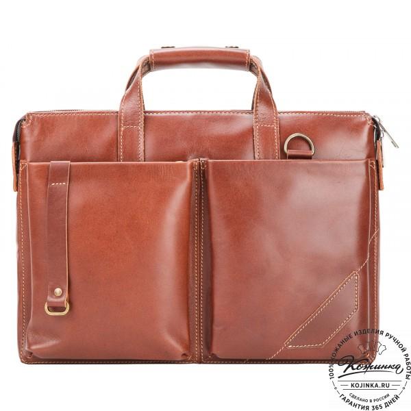 """Кожаная деловая сумка """"Стюарт"""" (коричнево-рыжая). фото 1"""