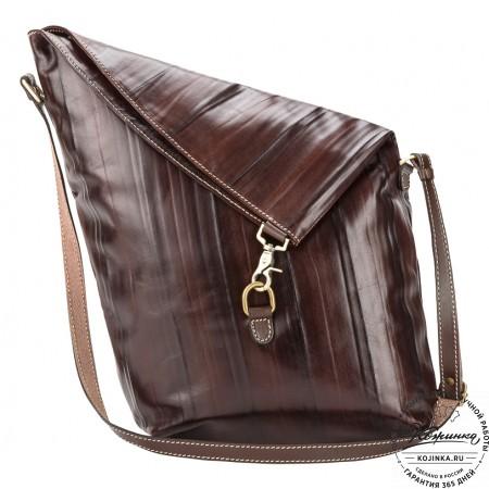 """Кожаная сумка """"Верона"""" (коричневая жатка)"""