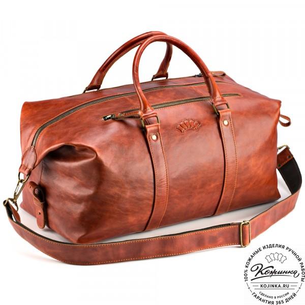 Кожаная дорожно-спортивная сумка Англия (рыжий антик). фото 1
