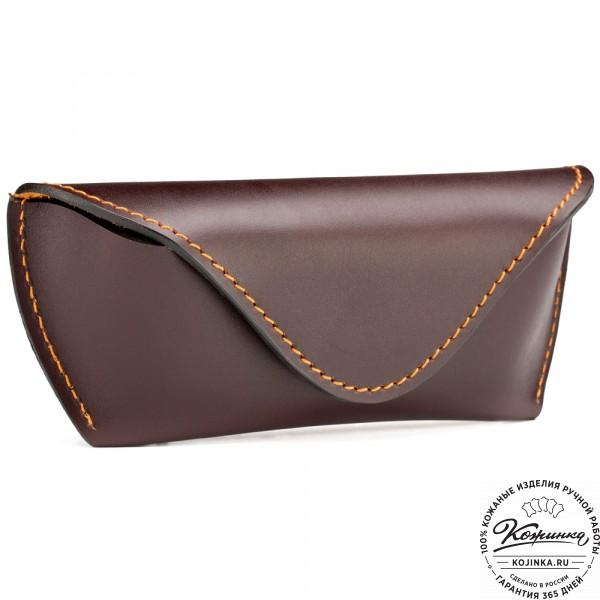 Кожаный футляр для очков (коричневый) . фото 1