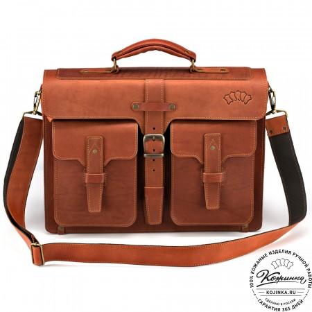 """Кожаный портфель """"Мирон"""" (рыжий)"""