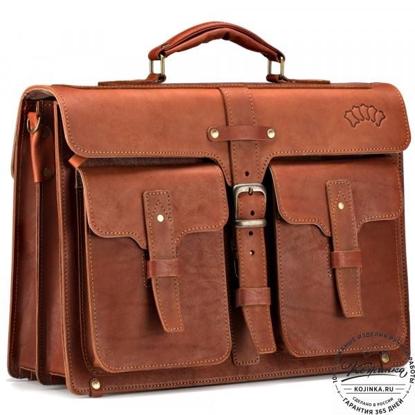 """Кожаный портфель """"Мирон"""" (рыжий). фото 1"""
