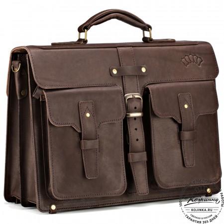 """Кожаный портфель """"Мирон"""" (тёмно-коричневый)"""