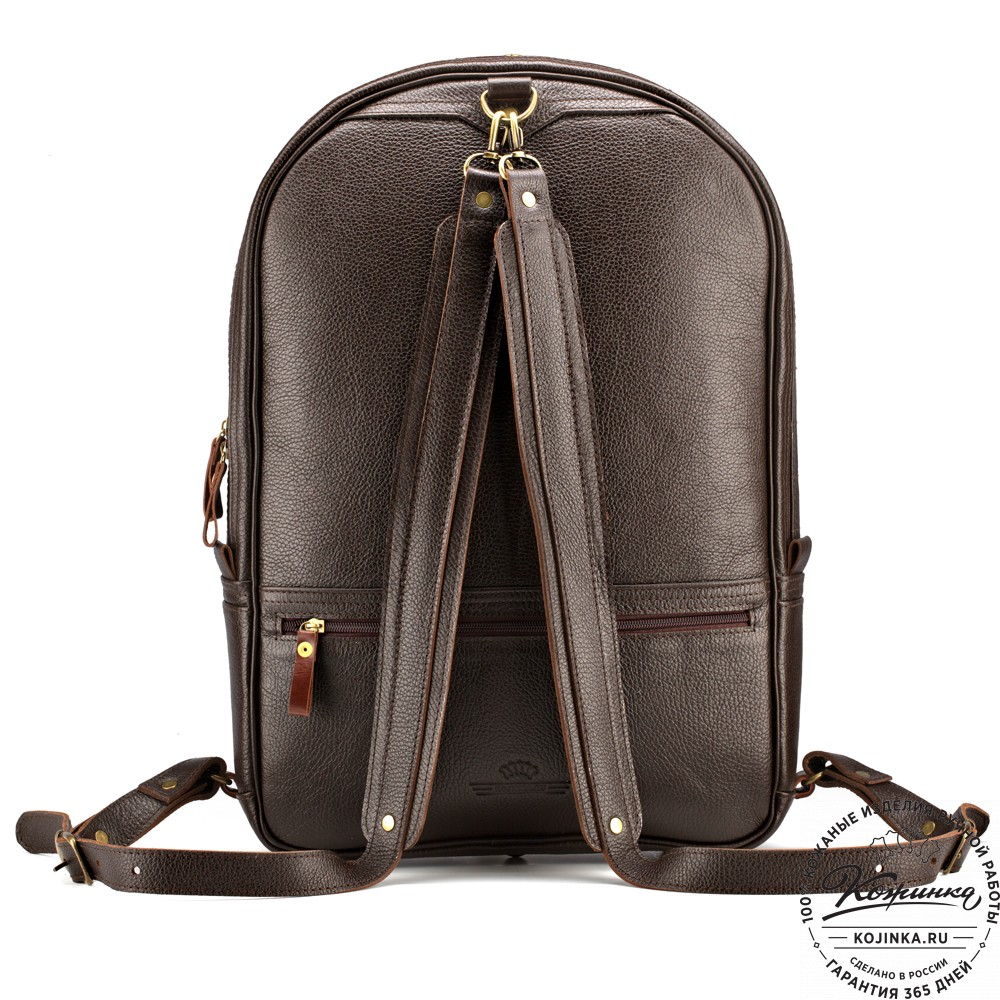 """Кожаный рюкзак-трансформер """"Покер"""" (тёмно-коричневый)"""