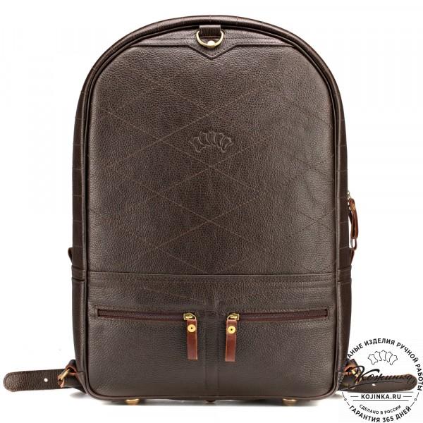 """Кожаный рюкзак-трансформер """"Покер"""" (тёмно-коричневый) . фото 1"""