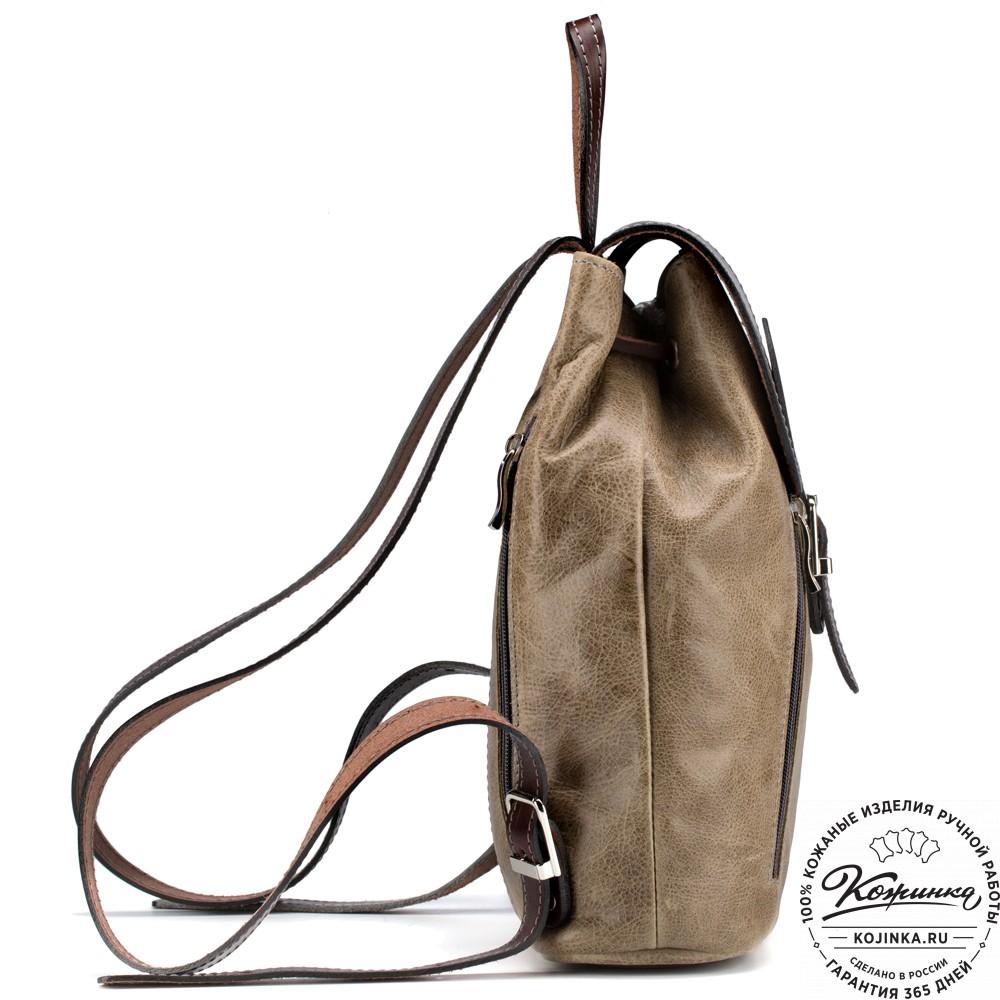 """Женский кожаный рюкзак """"Жоли"""" (оливковый)"""