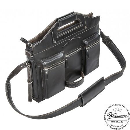 """Кожаная деловая сумка """"Диего"""" (черная)"""