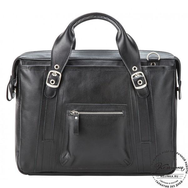"""Кожаная деловая сумка """"Доминик"""" (чёрная). фото 1"""