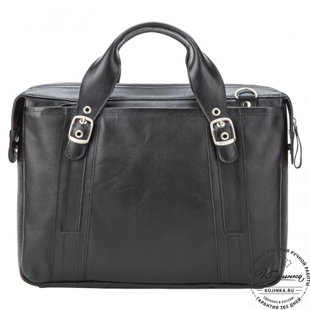 """Кожаная деловая сумка """"Доминик"""" (чёрная)"""