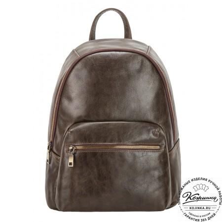 """Кожаный рюкзак """"Виолетта"""" (оливковый)"""