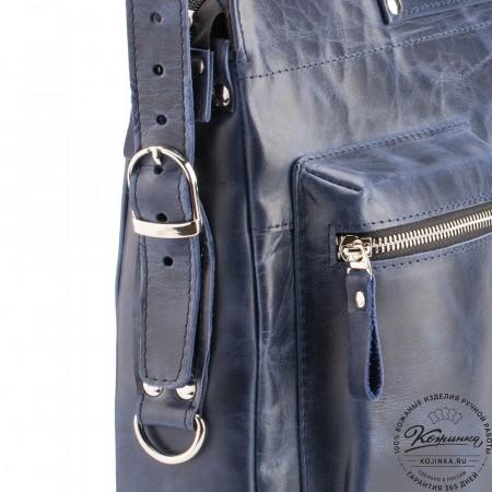 """Кожаная деловая сумка """"Диего"""" (синий антик)"""