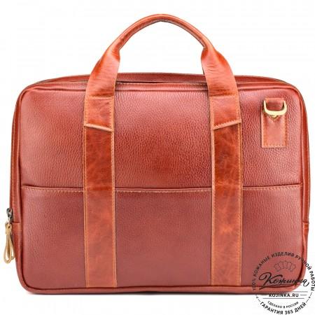 """Кожаная деловая сумка """"Гранд Карлос"""" (рыжая)"""