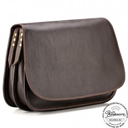 """Женская кожаная сумка """"Комильфо"""" (тёмно-коричневая)"""