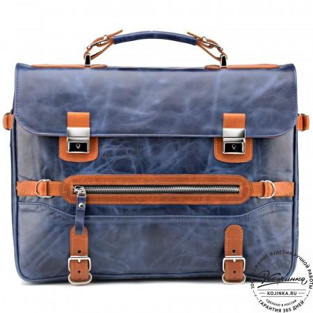 """Кожаный портфель """"Сталкер"""" (синий антик)"""