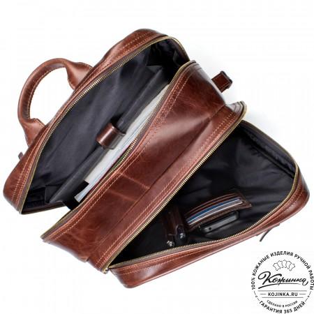 """Кожаный рюкзак-сумка """"Брюс"""" (коричневый крейзи)"""