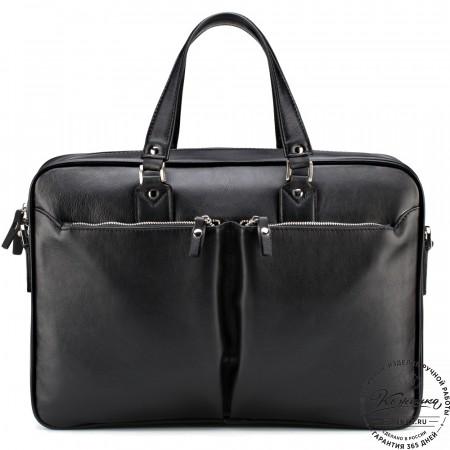 """Кожаная деловая сумка """"Роберт"""" (чёрная)"""