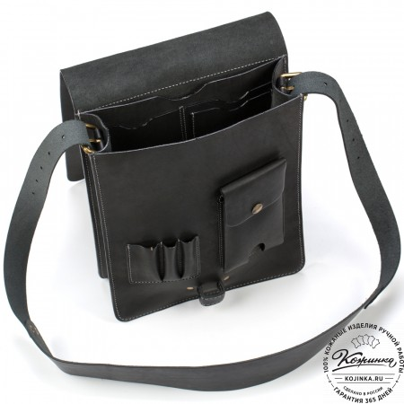 "Кожаная сумка ""Штурман"" (черная)"