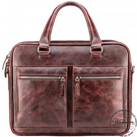 """Кожаная деловая сумка """"Гофман"""" (коричневый антик)"""