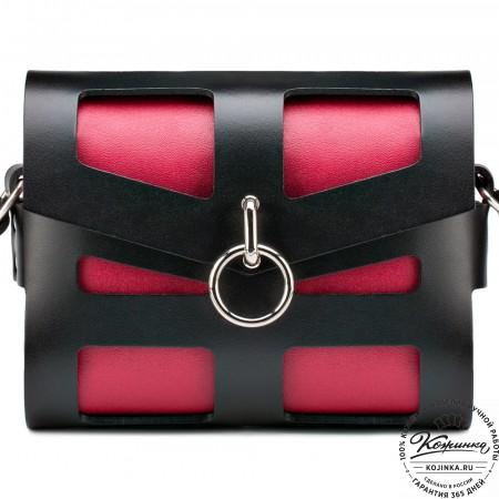 """Женская кожаная сумка """"Кортни"""" (красная с чёрным)"""