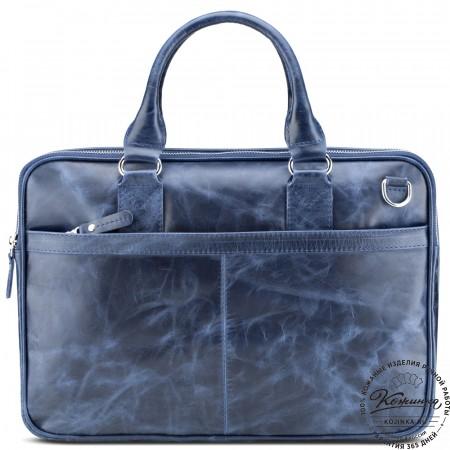 """Кожаная деловая сумка """"Кларк"""" (синий антик)"""
