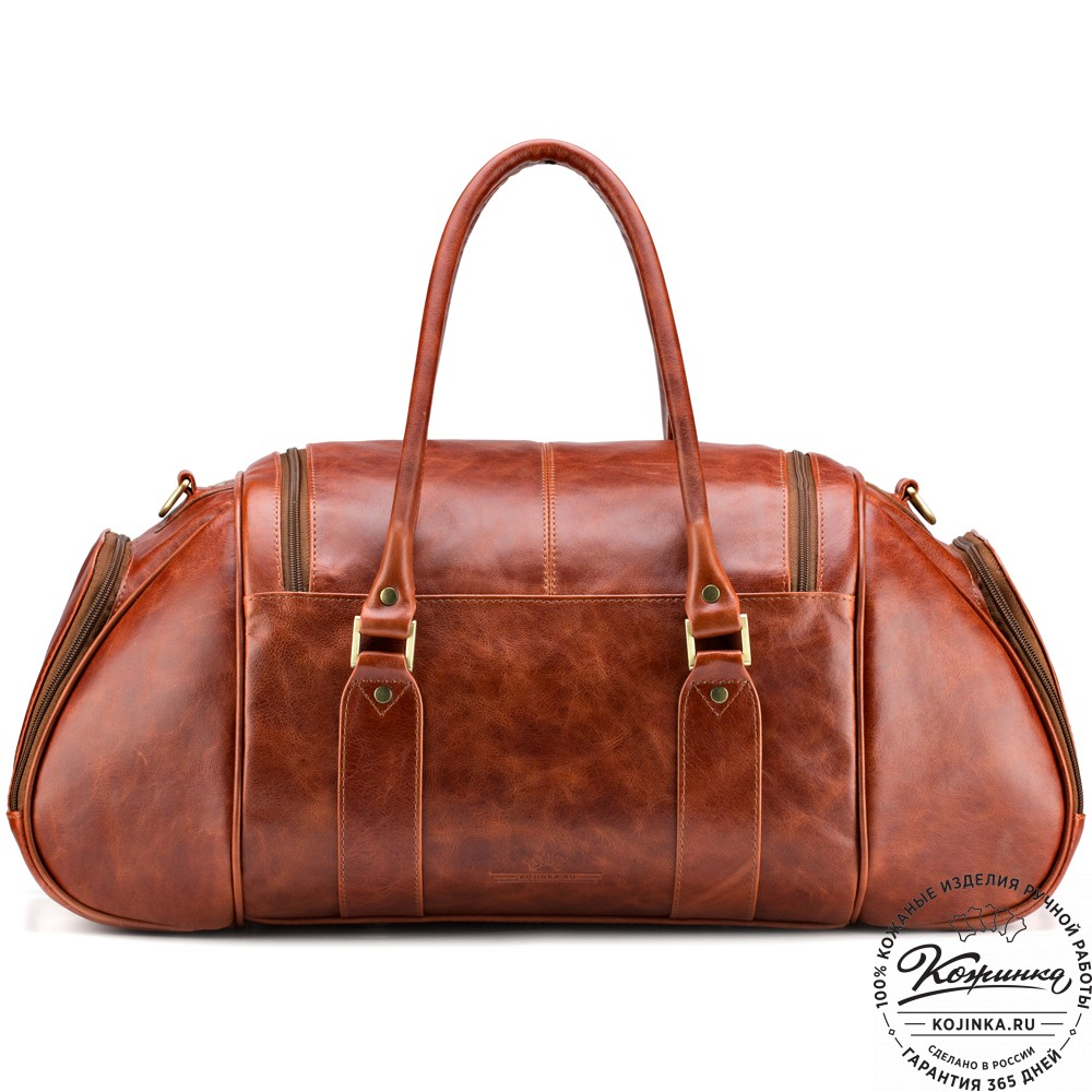 """Кожаная дорожно-спортивная сумка """"Дональд"""" (рыжий антик)"""