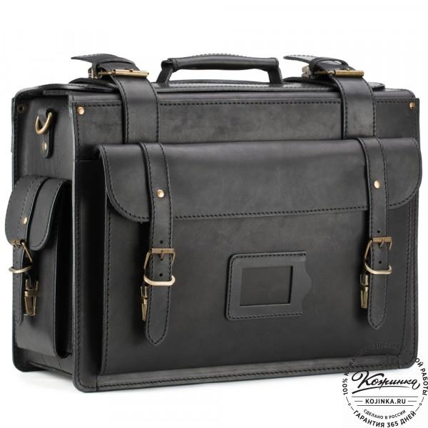 """Кожаный портфель-Кофр  """"Универсал""""  (чёрный). фото 1"""