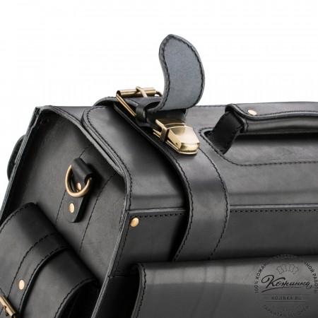 """Кожаный портфель-Кофр  """"Универсал""""  (чёрный)"""