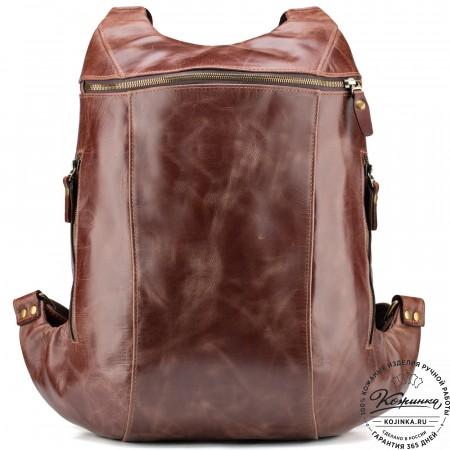 """Кожаный рюкзак """"Ургант"""" (коричневый крейзи)"""