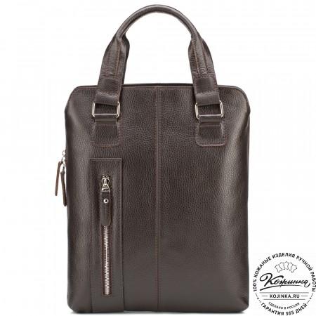 """Кожаная сумка """"Эштон"""" (коричневая)"""