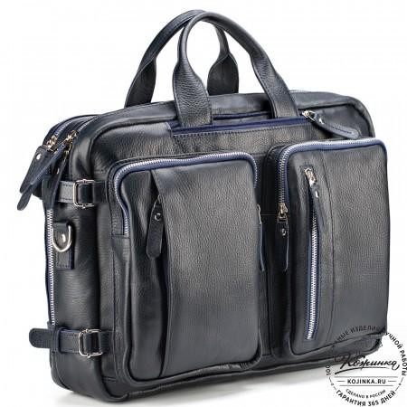 """Кожаная сумка-рюкзак """"Бигмэн"""" (синяя)"""
