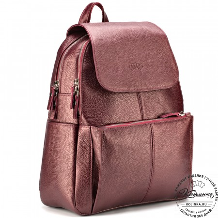 """Кожаный рюкзак """"Дафна"""" (бордовый металлик)"""
